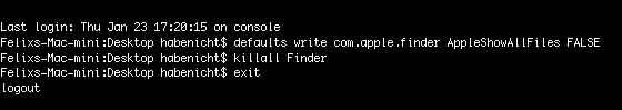 Versteckte Dateien im Finder anzeigen und ausblenden