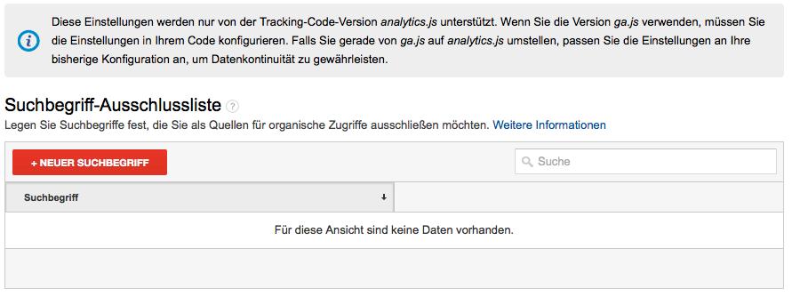 Universal Google Analytics Suchbegriff-Ausschlussliste