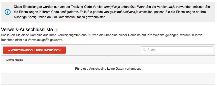 Universal Google Analytics - Verweis-Abschlussliste