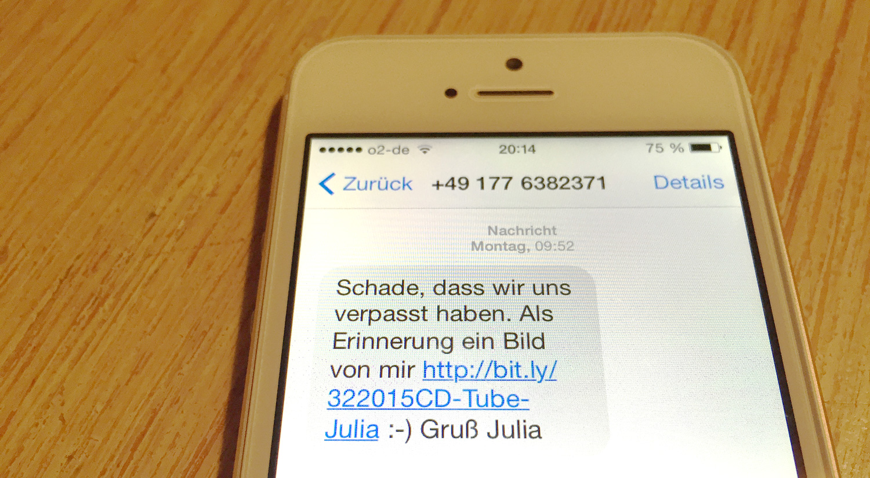 Eine SMS Spam Nachricht: Schade, dass wir uns verpasst haben. Als Erinnerung